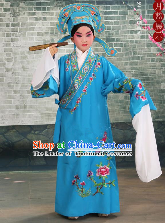 Traditional Chinese Beijing Opera Niche Blue Children Clothing and Boots Complete Set, China Peking Opera Young Men Costume Embroidered Robe for Kids