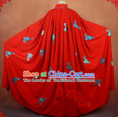 Traditional Chinese Beijing Opera Shaoxing Opera Young Lady Clothing Red Cloak, China Peking Opera Diva Role Hua Tan Costume Embroidered Auspicious Clouds Mantle