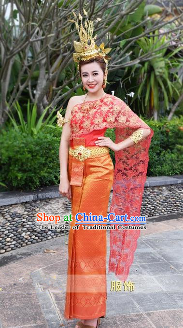 Traditional Traditional Thailand Female Bride Clothing, Southeast Asia Thai Ancient Costumes Dai Nationality Water-Sprinkling Festival Red Wedding Sari Dress for Women