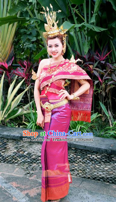 Traditional Traditional Thailand Princess Clothing, Southeast Asia Thai Ancient Costumes Dai Nationality Wedding Rosy Sari Dress for Women