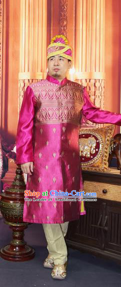 Traditional Traditional Thailand Male Clothing, Southeast Asia Thai Ancient Costumes Dai Nationality Purple Long Robe Dust Coat for Men