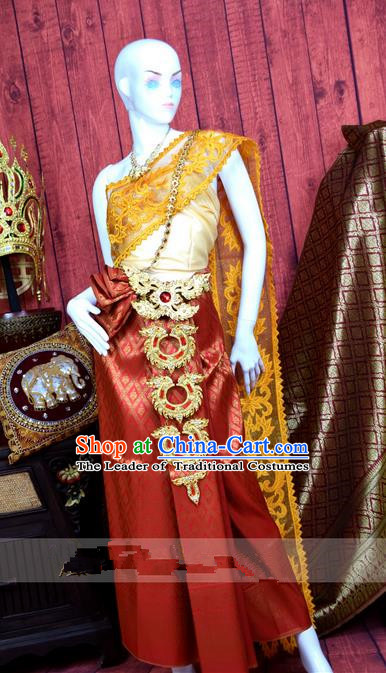 Traditional Traditional Thailand Princess Clothing, Southeast Asia Thai Ancient Costumes Dai Nationality Wedding Sari Dress for Women