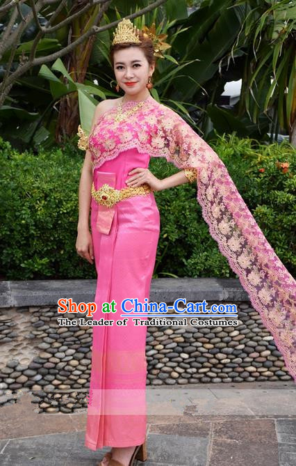 Traditional Traditional Thailand Female Bride Clothing, Southeast Asia Thai Ancient Costumes Dai Nationality Water-Sprinkling Festival Pink Wedding Sari Dress for Women