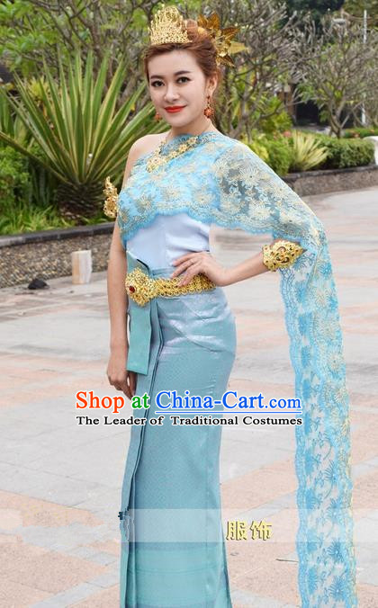 Traditional Traditional Thailand Female Bride Clothing, Southeast Asia Thai Ancient Costumes Dai Nationality Water-Sprinkling Festival Blue Wedding Sari Dress for Women