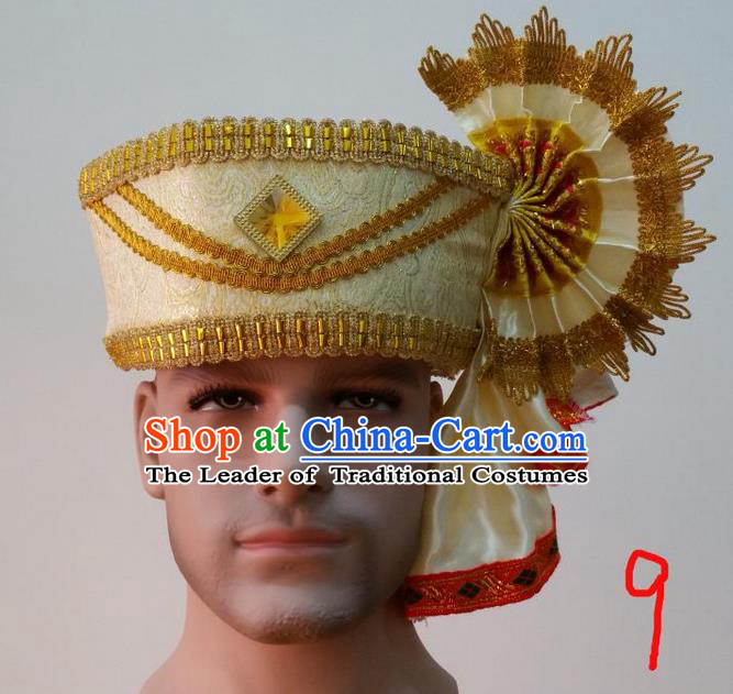 Traditional Traditional Thailand Accessories Crystal Hat, Southeast Asia Thai Dai Nationality Headwear for Men