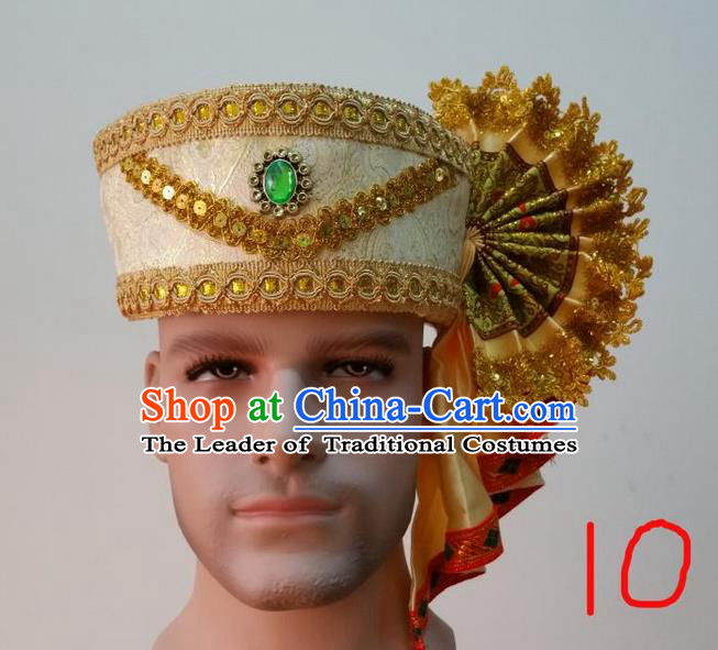 Traditional Traditional Thailand Accessories Green Crystal Hat, Southeast Asia Thai Dai Nationality Headwear for Men