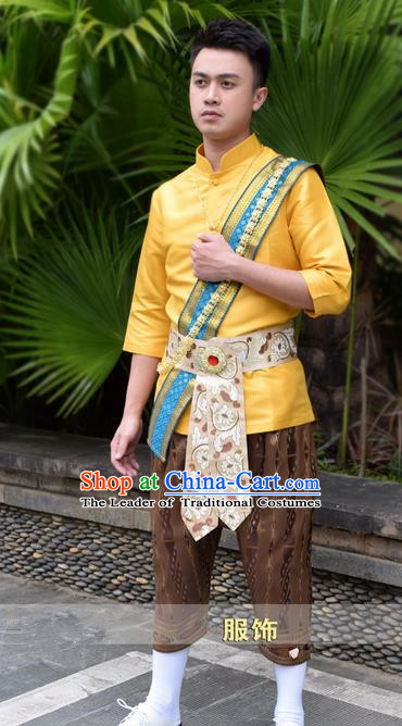 Traditional Traditional Thailand Male Clothing, Southeast Asia Thai Ancient Costumes Dai Nationality Golden Shirt and Pants for Men
