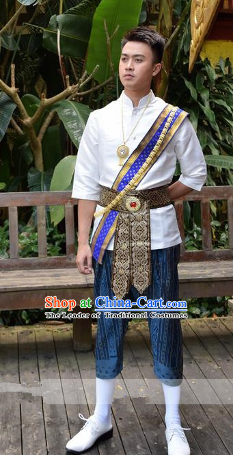 Traditional Traditional Thailand Male Clothing, Southeast Asia Thai Ancient Costumes Dai Nationality White Shirt and Pants for Men