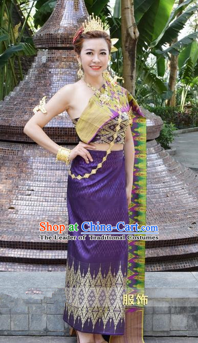 Traditional Traditional Thailand Princess Clothing, Southeast Asia Thai Ancient Costumes Dai Nationality Wedding Purple Sari Dress for Women