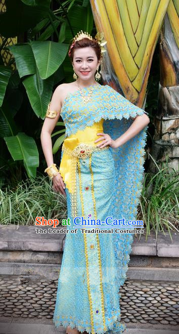 Traditional Traditional Thailand Princess Clothing, Southeast Asia Thai Ancient Costumes Dai Nationality Wedding Blue Sari Dress for Women