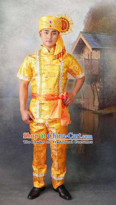 Traditional Traditional Thailand Male Clothing, Southeast Asia Thai Ancient Costumes Dai Nationality Golden Shirt and Pants Complete Set for Men