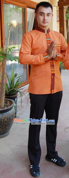 Traditional Traditional Thailand Male Suits Clothing, Southeast Asia Thai Ancient Costumes Dai Nationality Orange Shirt and Pants for Men