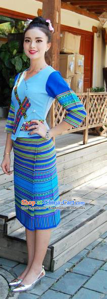 Traditional Traditional Thailand Female Clothing, Southeast Asia Thai Ancient Costumes Dai Nationality Wedding Bride Blue Sari Dress for Women