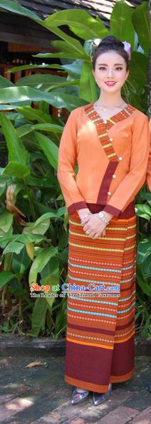 Traditional Traditional Thailand Female Clothing, Southeast Asia Thai Ancient Costumes Dai Nationality Orange Sari Dress for Women