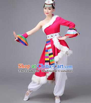 Traditional Chinese Zang Nationality Dance Costume, Folk Dance Ethnic Clothing Suit, Chinese Tibetan Minority Nationality Rosy Dress for Women