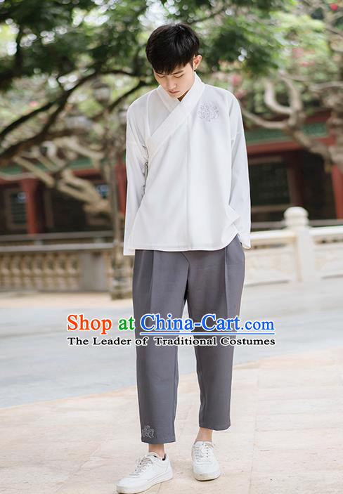 Traditional Chinese Ancient Male Costume, Elegant Hanfu Clothing Chinese Ancient Swordsman Blouse for Men