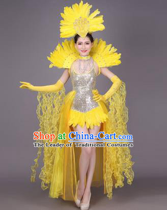 Traditional Chinese Modern Dance Performance Costume, China Opening Dance Samba Dance Clothing, Classical Dance Yellow Dress for Women