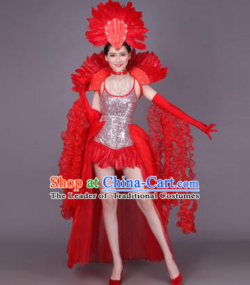 Traditional Chinese Modern Dance Performance Costume, China Opening Dance Samba Dance Clothing, Classical Dance Red Dress for Women