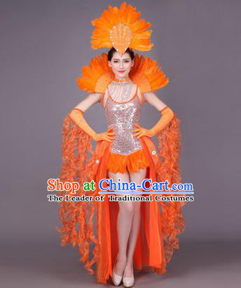 Traditional Chinese Modern Dance Performance Costume, China Opening Dance Samba Dance Clothing, Classical Dance Orange Dress for Women