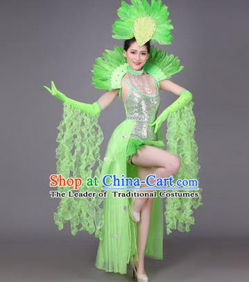 Traditional Chinese Modern Dance Performance Costume, China Opening Dance Samba Dance Clothing, Classical Dance Green Dress for Women