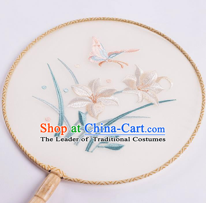 Traditional Chinese Ancient Silk Embroidered Orchids Round Fans for Women