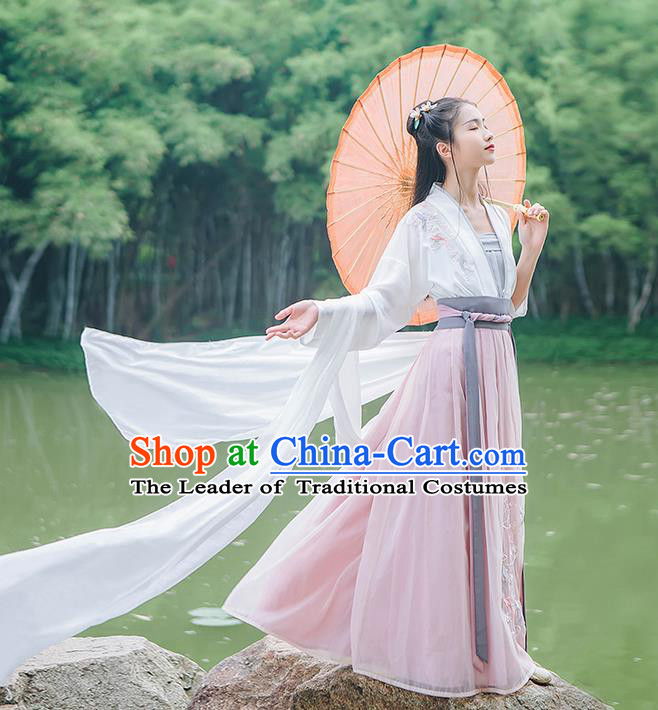 Traditional Chinese Song Dynasty Palace Lady Costume Complete Set, Elegant Hanfu Clothing Embroidered Cardigan Suspenders and Dress, Chinese Ancient Princess Clothing for Women