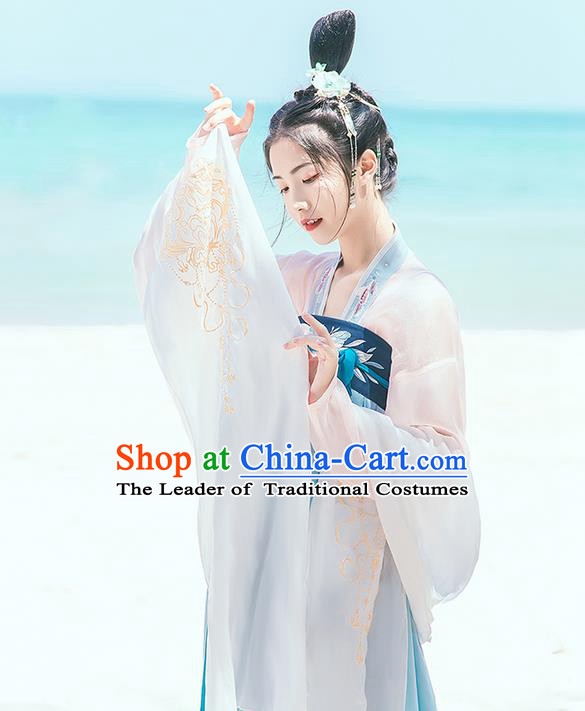 Traditional Chinese Tang Dynasty Palace Princess Embroidered Hanfu White Wide Wearing Silks for Women