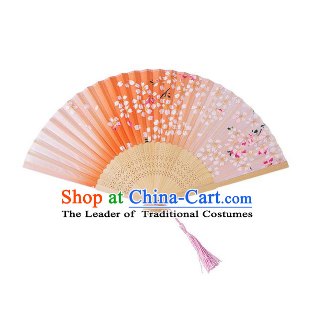 Traditional Chinese Ancient Hanfu Printing Red Folding Fans for Women