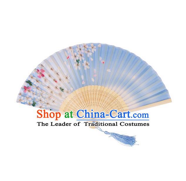 Traditional Chinese Ancient Hanfu Printing Blue Folding Fans for Women
