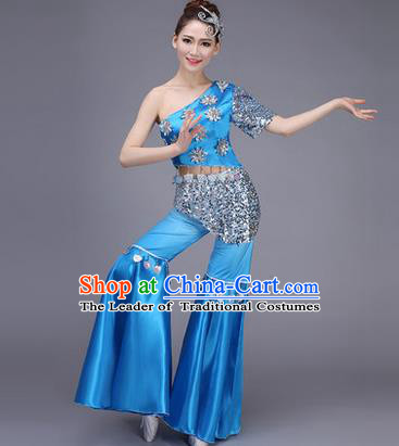 Traditional Chinese Dai Nationality Peacock Dance Costume, Folk Dance Ethnic Pavane Clothing, Chinese Minority Nationality Dance Blue Suit for Women