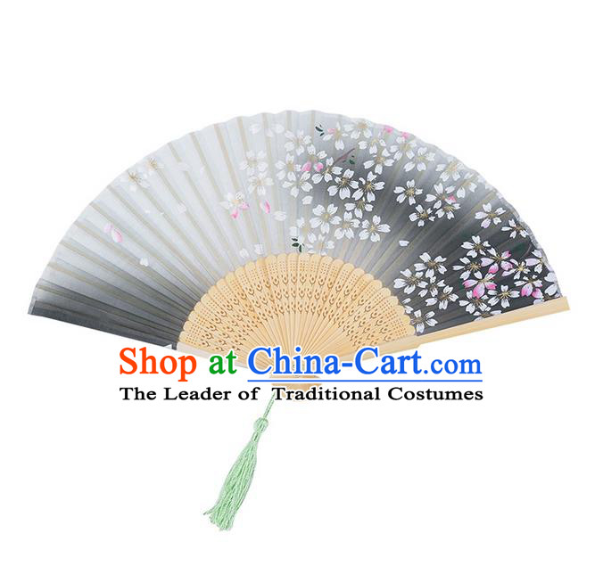 Traditional Chinese Ancient Hanfu Printing Green Folding Fans for Women