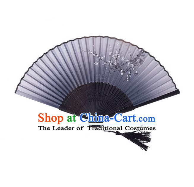 Traditional Chinese Ancient Hanfu Printing Black Folding Fans for Women