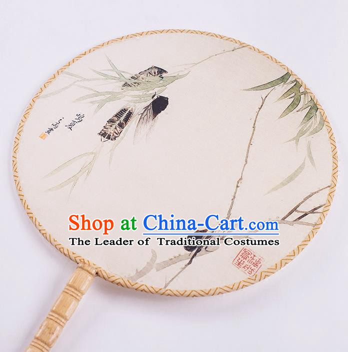 Traditional Chinese Ancient Hanfu Printing Cicadidae Round Fans for Women