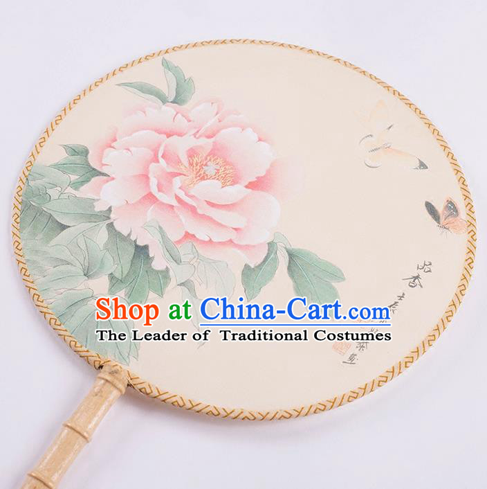 Traditional Chinese Ancient Hanfu Printing Peony Round Fans for Women