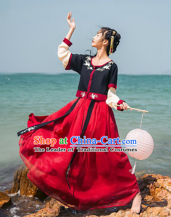 Traditional Chinese Song Dynasty Palace Princess Costume Blouse and Dress Complete Set, Elegant Hanfu Embroidered Clothing China Ancient Dress for Women
