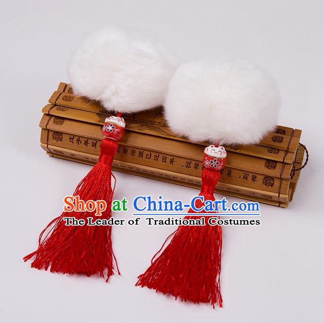 Chinese Ancient Hanfu Hair Accessories Venonat Red Tassel Hairpins, Traditional Chinese Hair Clasp for Women