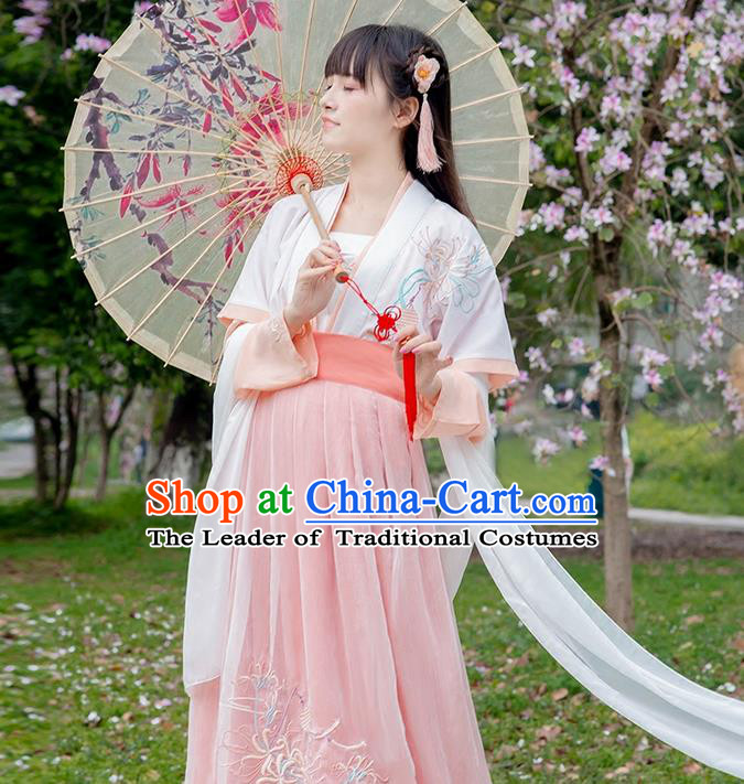Traditional Chinese Tang Dynasty Palace Princess White Long Ribbons Wearing Silks for Women