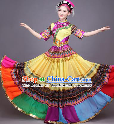 Traditional Chinese Yi Nationality Dance Costume, Yizu Female Folk Dance Ethnic Pleated Skirt, Chinese Yi Minority Nationality Embroidery Dress for Women