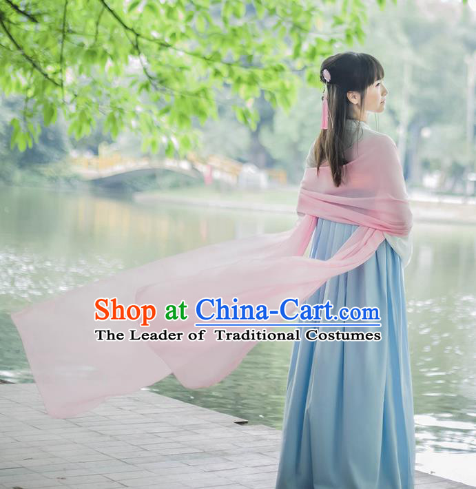 Traditional Chinese Tang Dynasty Palace Princess Pink Long Ribbons Wearing Silks for Women