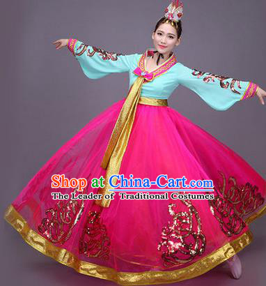 Traditional Korean Nationality Dance Costume, Chinese Minority Nationality Embroidery Hanbok Red Dress for Women
