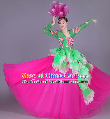 Top Grade China Opening Dance Costume, Female Chorus Classical Dance Dress, Chinese Modern Dance Big Swing Peony Bubble Dress for Women