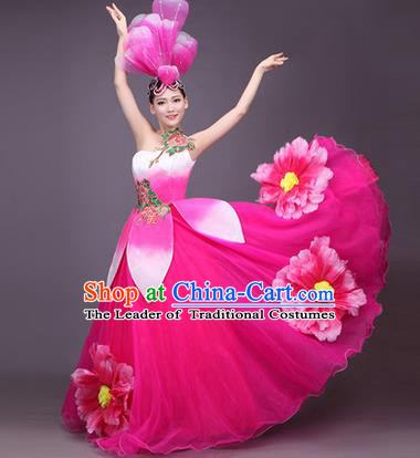 Top Grade China Opening Dance Costume, Female Chorus Classical Dance Dress, Chinese Modern Dance Big Swing Peony Pink Bubble Dress for Women