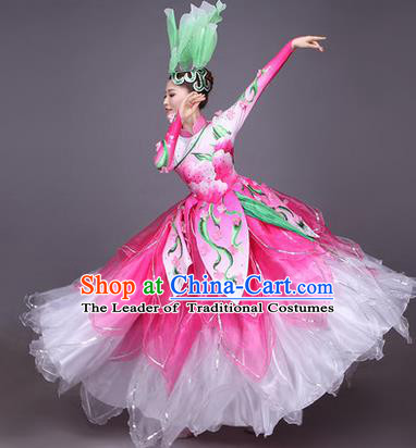 Top Grade China Opening Dance Costume, Female Chorus Classical Dance Dress, Chinese Modern Dance Big Swing Pink Bubble Dress for Women