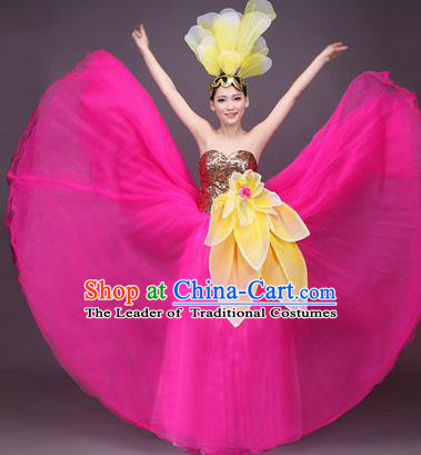 Traditional Chinese Modern Dance Performance Costume, China Opening Dance Full Dress, Classical Dance Big Swing Pink Dress for Women