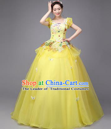 Traditional Chinese Modern Dance Compere Performance Costume, China Opening Dance Chorus Full Dress, Classical Dance Big Swing Yellow Veil Bubble Dress for Women