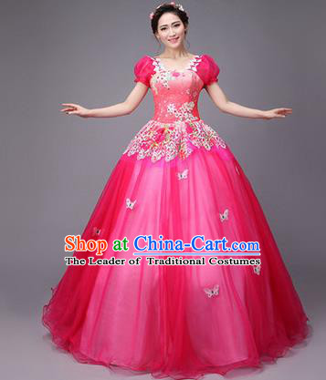 Traditional Chinese Modern Dance Compere Performance Costume, China Opening Dance Chorus Full Dress, Classical Dance Big Swing Rosy Veil Bubble Dress for Women