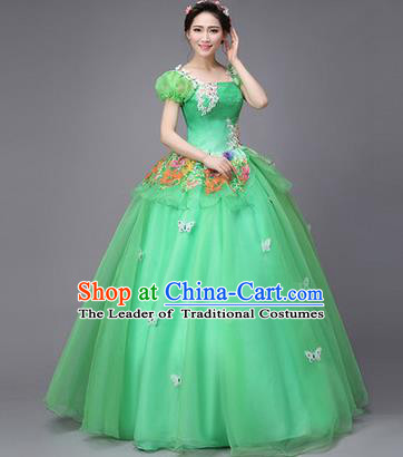 Traditional Chinese Modern Dance Compere Performance Costume, China Opening Dance Chorus Full Dress, Classical Dance Big Swing Green Veil Bubble Dress for Women