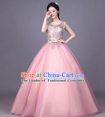 Traditional Chinese Modern Dance Compere Performance Costume, China Opening Dance Chorus Full Dress, Classical Dance Big Swing Pink Veil Bubble Dress for Women
