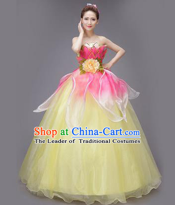 Traditional Chinese Modern Dance Compere Performance Costume, China Opening Dance Chorus Full Dress, Classical Lotus Dance Big Swing Yellow Veil Bubble Dress for Women