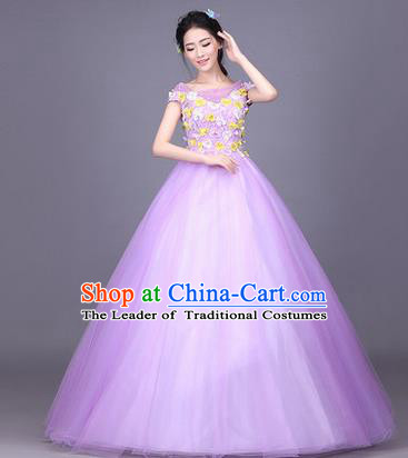 Traditional Chinese Modern Dance Compere Performance Costume, China Opening Dance Chorus Full Dress, Classical Dance Big Swing Purple Bubble Dress for Women